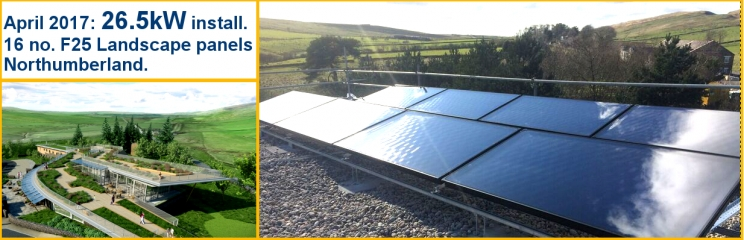 16 x Barilla F25 Landscape Solar Thermal Collectors, Northumberland